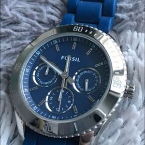 Fossil women's silicone watch - navy blue